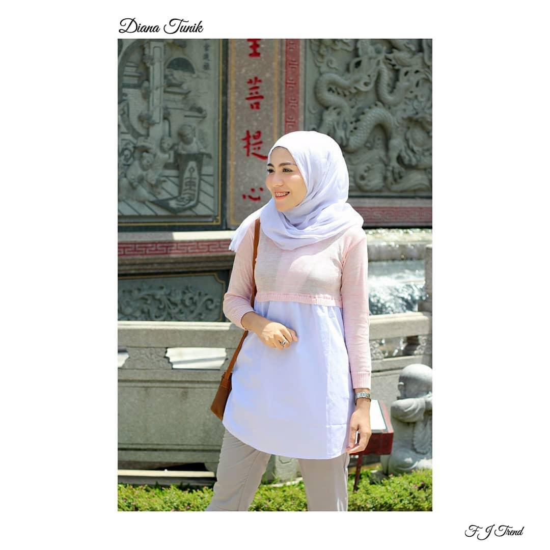 Baju Atasan Muslim Blouse Tunic Kemeja Long Shirt Tunik Best Red Sj0015 Diana Nouska Shop Jaket Sweater Rajut