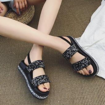 Beli sekarang Sandal summer Wanita 2018 musim panas model baru Gaya Korea  netral batu kristal air Sol Tebal Gesper Horizontal Sol wedges Gaya Hong  Kong ... 70aa1f6218