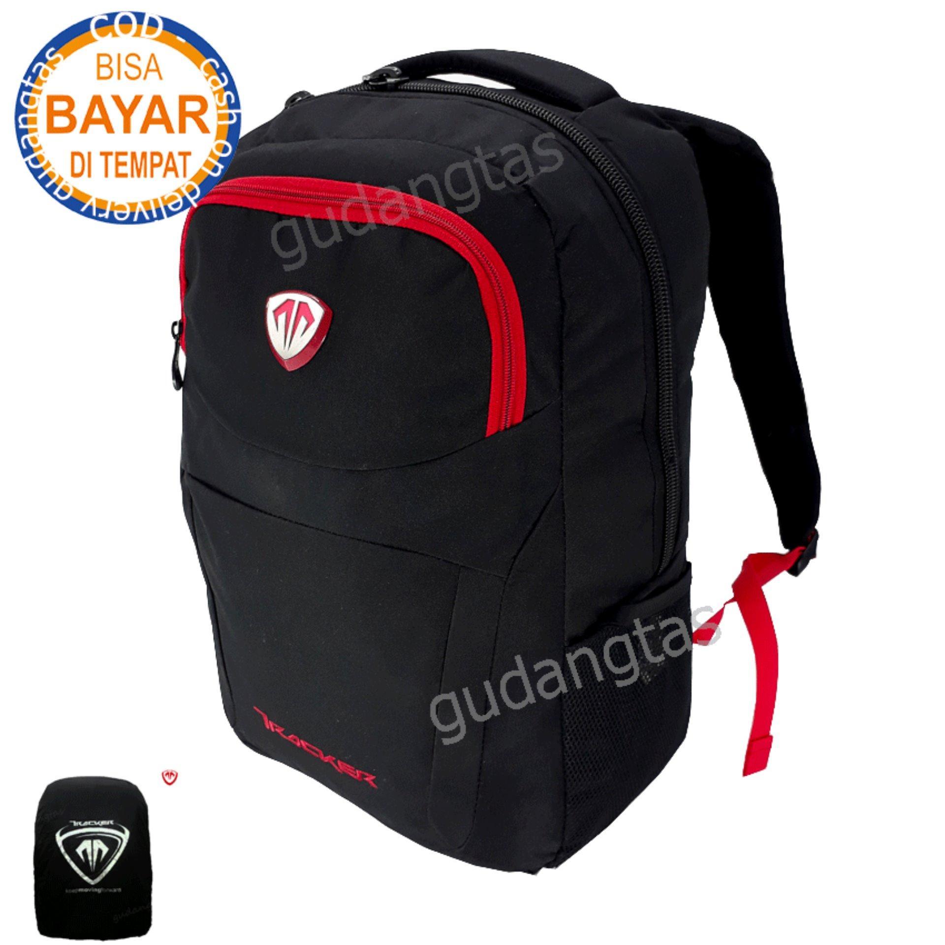 Tracker Tas Ransel Tas Sekolah  Tas Kuliah Tas Gaul backpack Pria Wanita 78364  laptop  D300 Nylon Original Hitam + Raincover