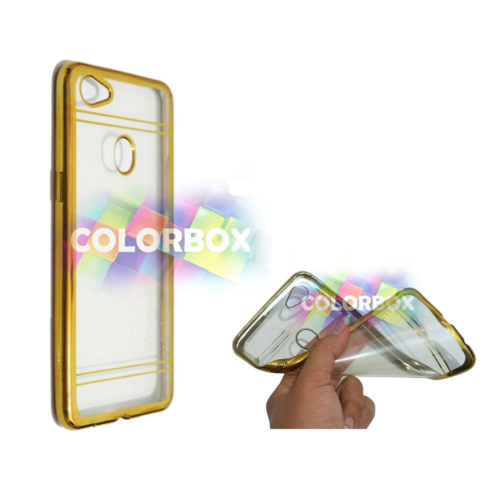 Motomo Chrome Oppo F7 Case Shining Chrome / Ultrathin Oppo F7 List Chrome / Jelly Case / Silicone Oppo F7 Shinning / Case Oppo F7 / Casing Shining Ring Glossy - Gold