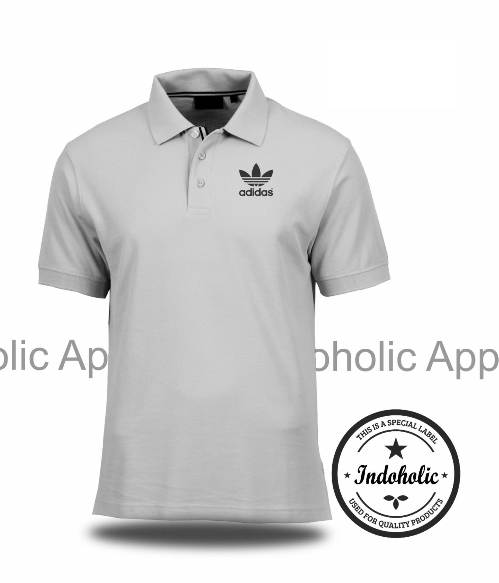 Polo Shirt Kaos Distro Sport Adidas 2 Branded T-Shirt Fashion Pria Wanita Cowok Cewek Baju T-Shirt Jakarta Bandung Terbaru Jaman Now Kekinian Atasan Pakaian Polos Pendek Kerah Berkera