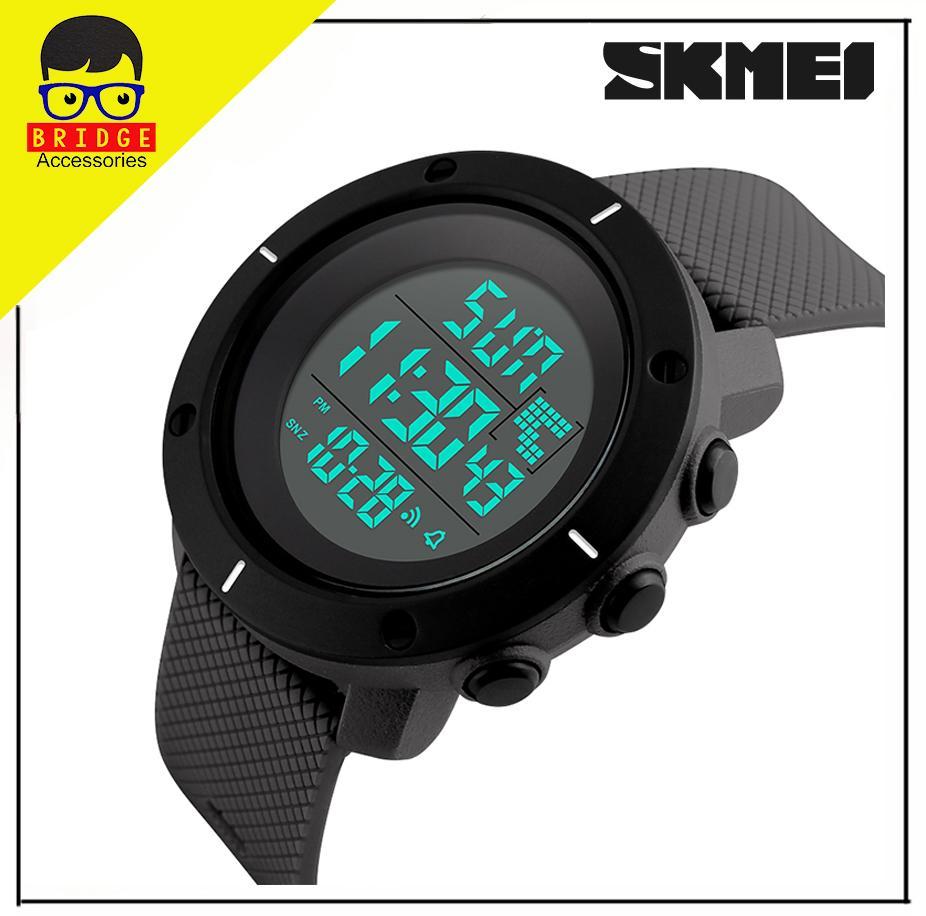 SKMEI 1213 Jam Tangan Pria Sportwatch Dual-Time Back Light Chronograph Alarm Sport Water Resistant 50M - Black