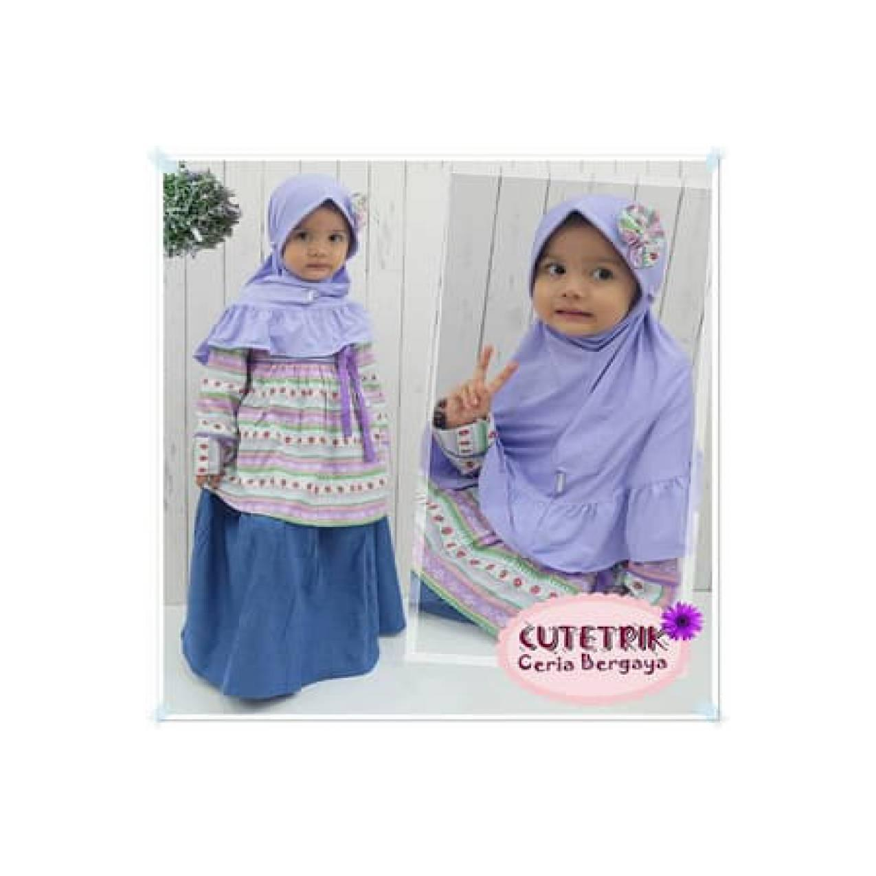 BAJU Tunik & Rok Denim Cutetrik NX12 -Baju Muslim Anak NX 12