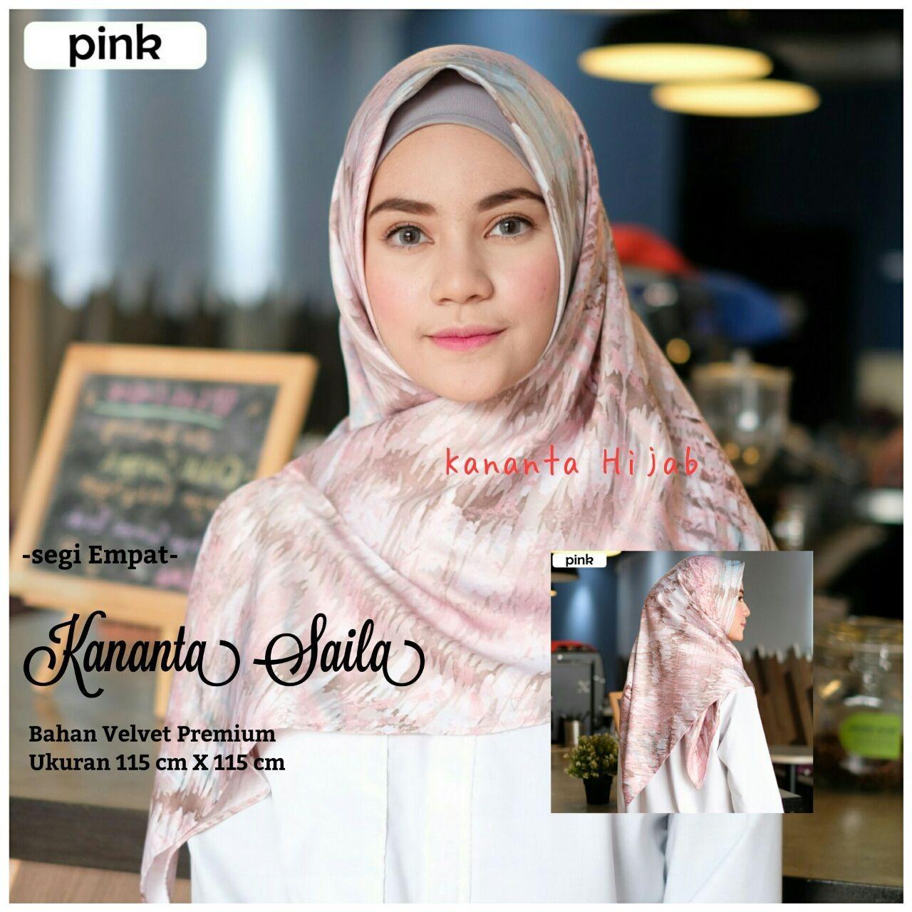 Kananta Hijab Segi Empat Motif / Jilbab Segi Empat Motif / Kerudung Segi Empat Motif / KANANTA SAILA / Bahan Kain Velvet Premium