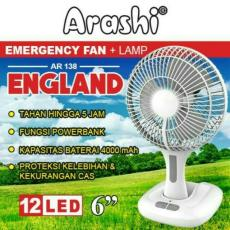 Arashi Kipas Angin + Lampu Emergency Rechargeable AR138 England ( Baterai / AC / DC input