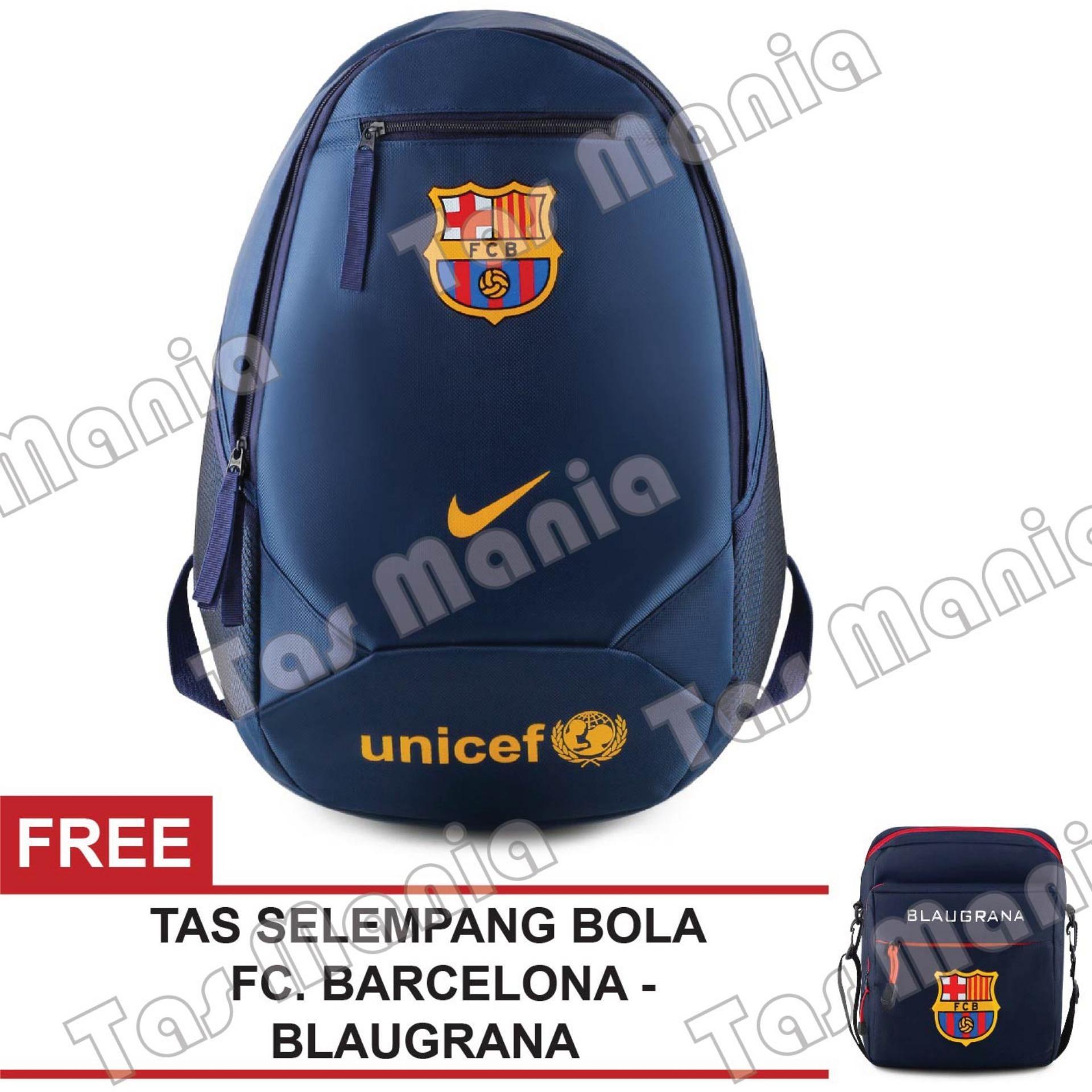 Tas Ransel Nike Bola Pria FC Barcelona - UNICEF Laptop Backpack Men Soccer Editions - Navy + Raincover + FREE Tas Selempang FC Barcelona - Blaugrana - Navy