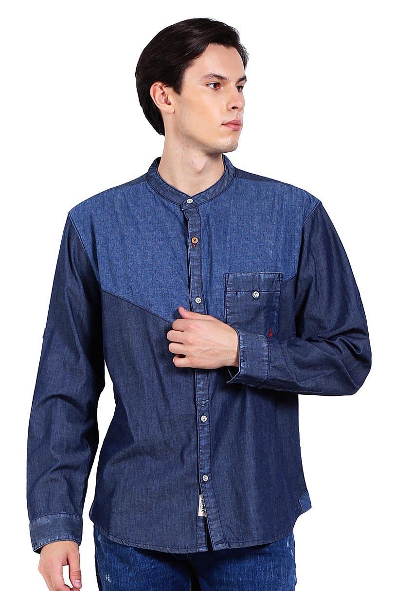 Bushido Pakaian Atasan Kemeja Pria Jeans Long Sleeve Shirt Denim Tadaksu Bd17Sh019Rb Medium Indigo Blue
