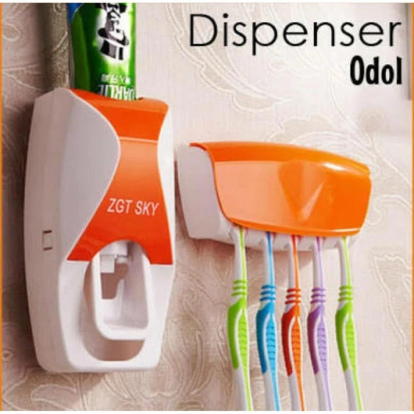 Dispenser Odol Fancy Terbaru / Toothpaste Dispenser New / Tempat Sikat Gigi Terbaru (Oranye)