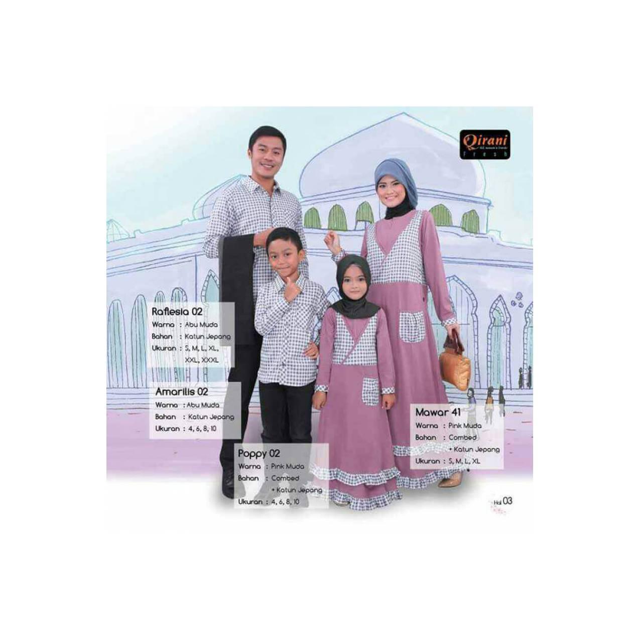 Terbaru - Sarimbit Keluarga Qirani - Gamis Pink muda - Kemeja abu muda