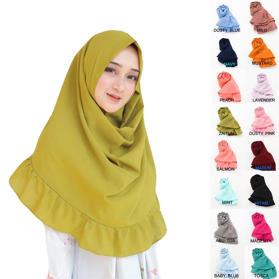 Jual Baju Muslim Zaskia Mecca Terbaik Elena Blouse Navy Pashmina Instan Rempel Kerudung Hijab