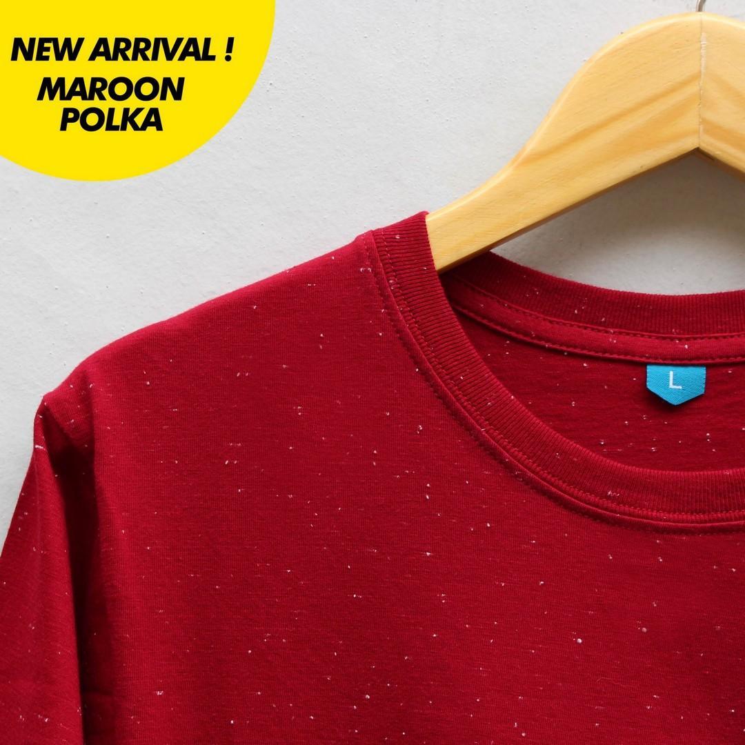 Buy Sell Cheapest Promo Maroon Polka Best Quality Product Deals Kaos Polos Pria Katun Combed 30s Lengan Panjang Warna Merah Marun Baju Wanita 100 Cotton Model Polkadot High