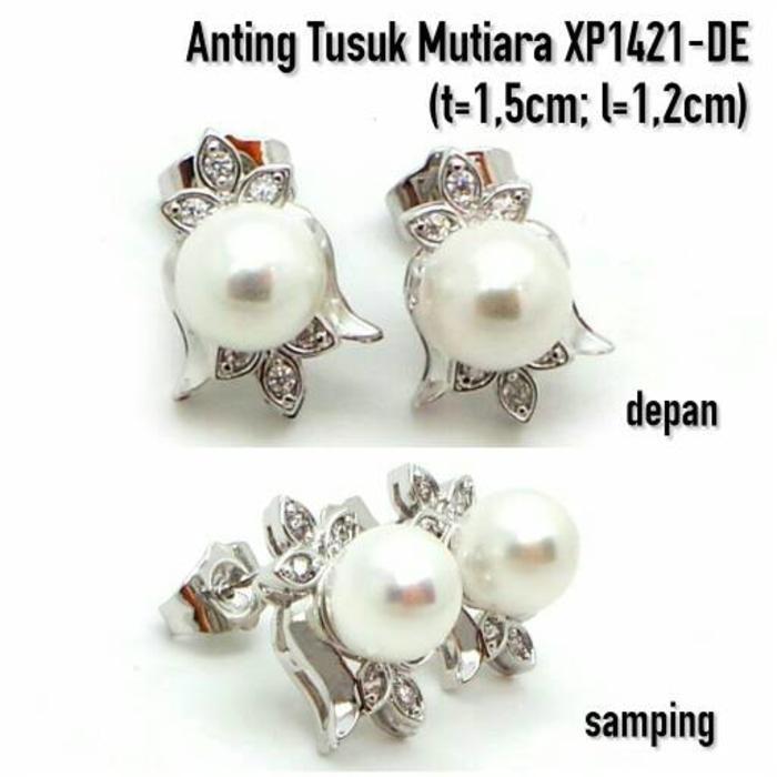 Anting Mutiara Perhiasan Lapis Emas Putih Aksesoris Wanita XP1421-DE