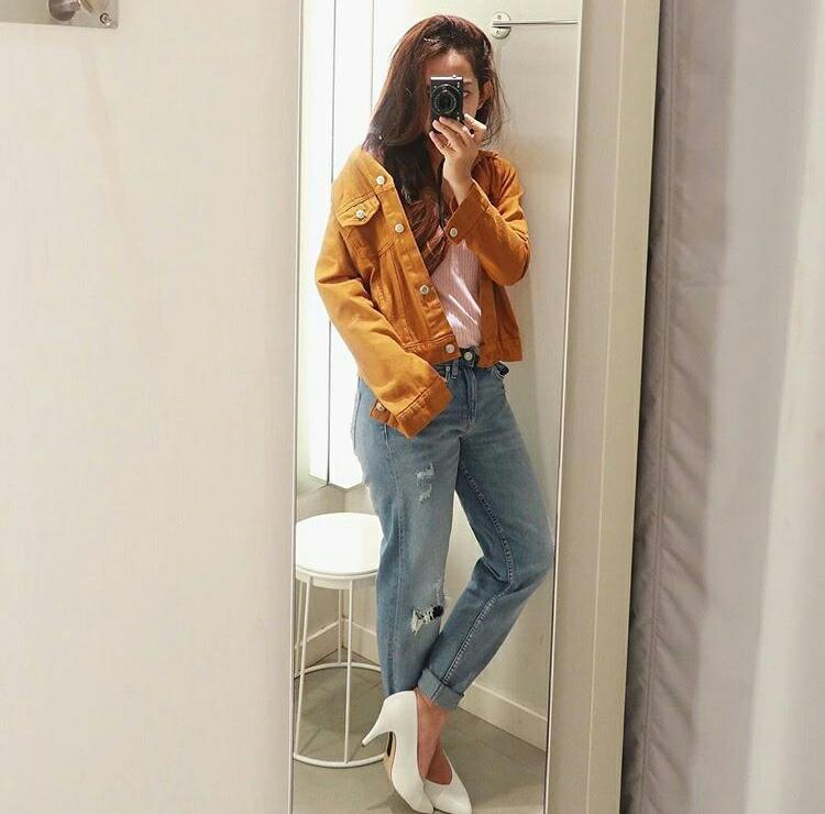 Kedai_baju Jaket Jeans Wanita / Jeans Wash Ori / Import Bangkok / Jaket Mustard - O