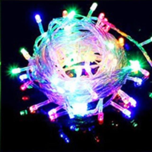 Lampu Hias LED - Lampu Natal Dekorasi 100 LED Panjang 10 Meter-Warna Warni