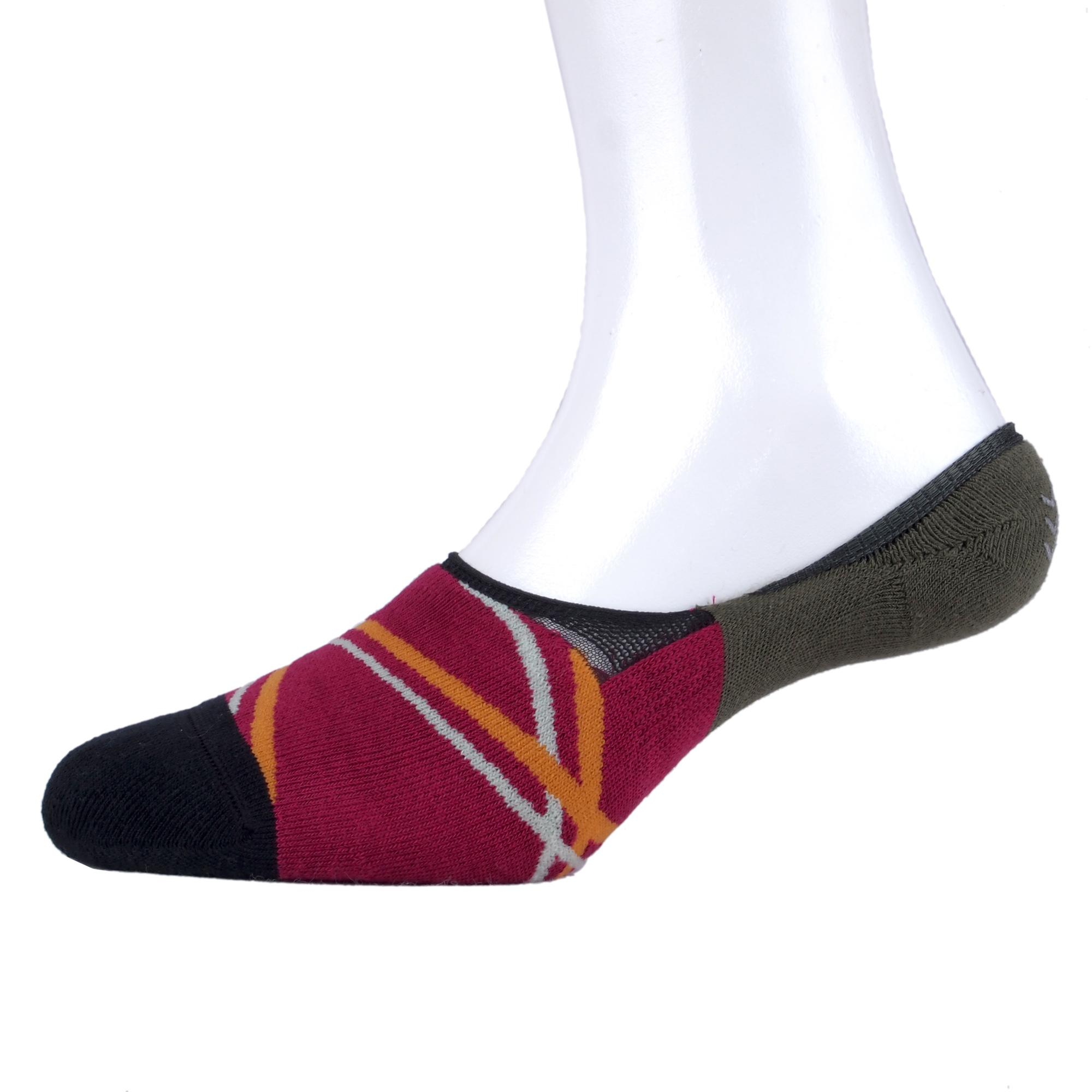 Kaos Kaki Marel Socks Double Lines Red Dark Green Sock Cran Berry/Primal Green