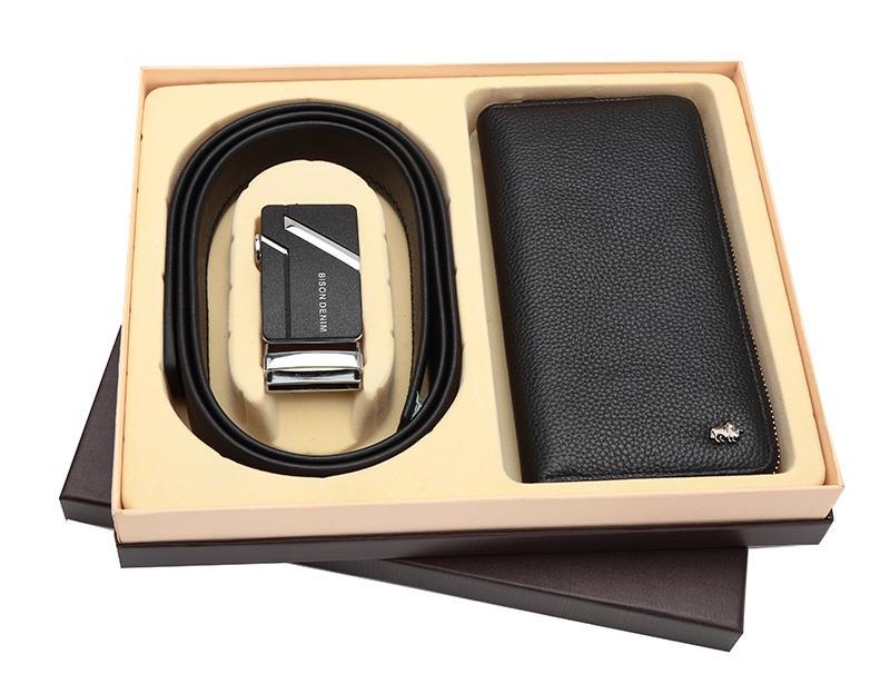 Bison Denim- Paket Dompet Panjang dan Ikat Pinggang Kulit Sapi Asli Original Bison Denim (Bison 8195-1B dan Bison 71281)