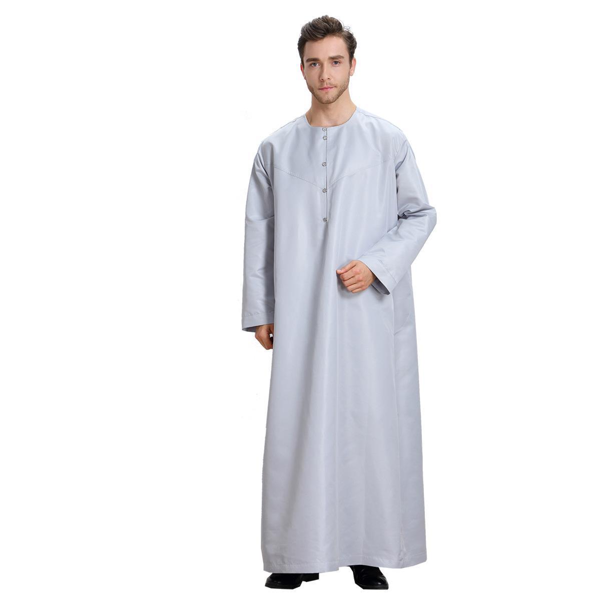 Muslim Arabia Pria Lengan Panjang Murni Pakaian Cordova Robe Pria Gamis Pakaian