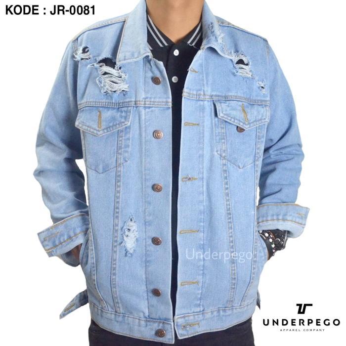 New Jaket Jeans Levis Sobek - Biru Muda