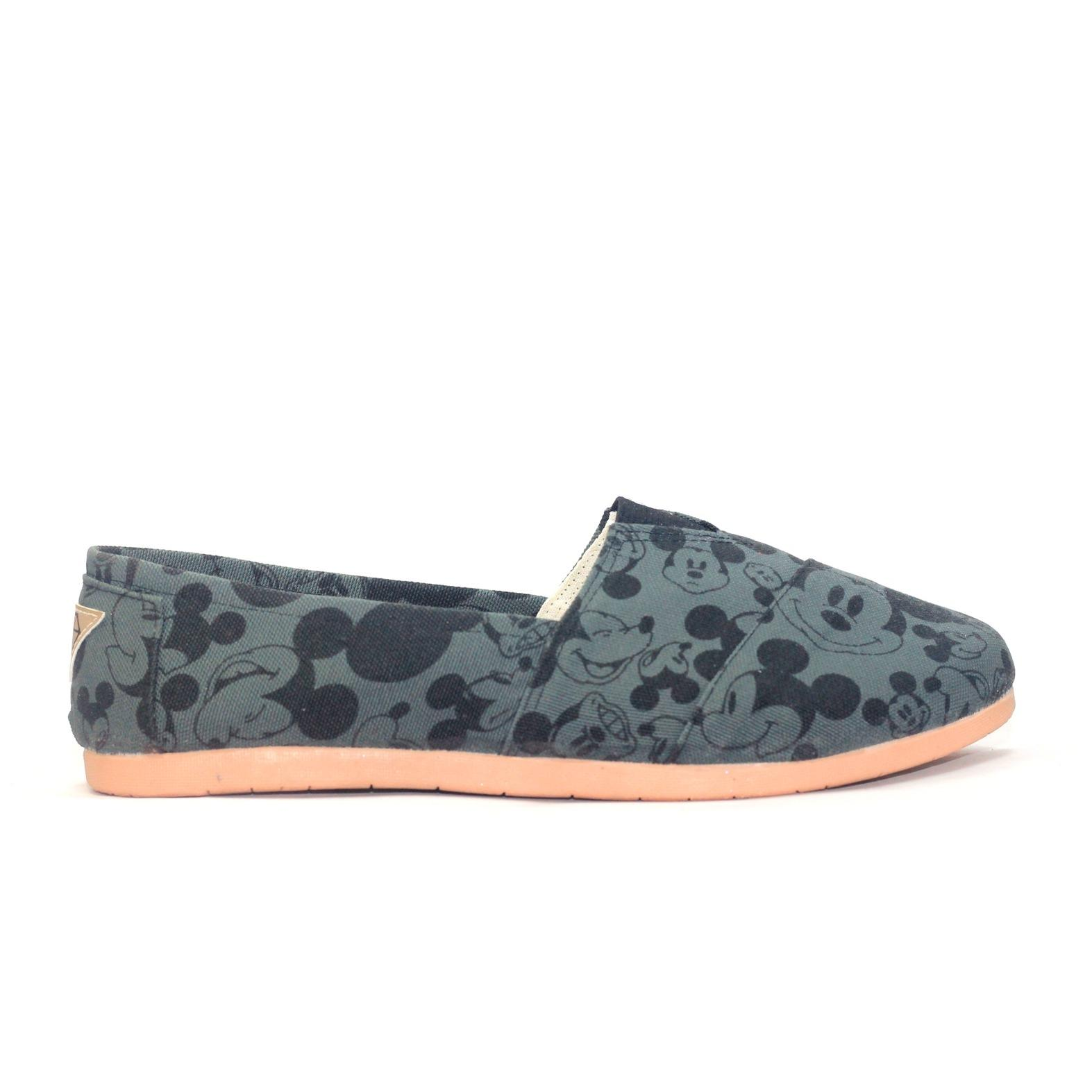 JRC flatshoes slipon hitam putih mickey mouse disney model toms wakai