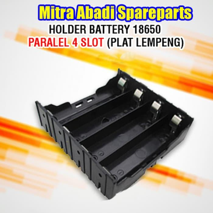 Sedang Diskon!! Holder Battery 18650 Paralel 4 Slot ( Plat Lempeng ) - ready