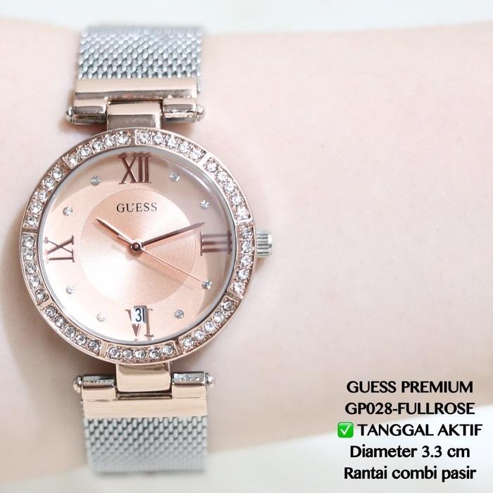 Jam tangan fashion wanita grosir guess geneva rantai gold terbaru