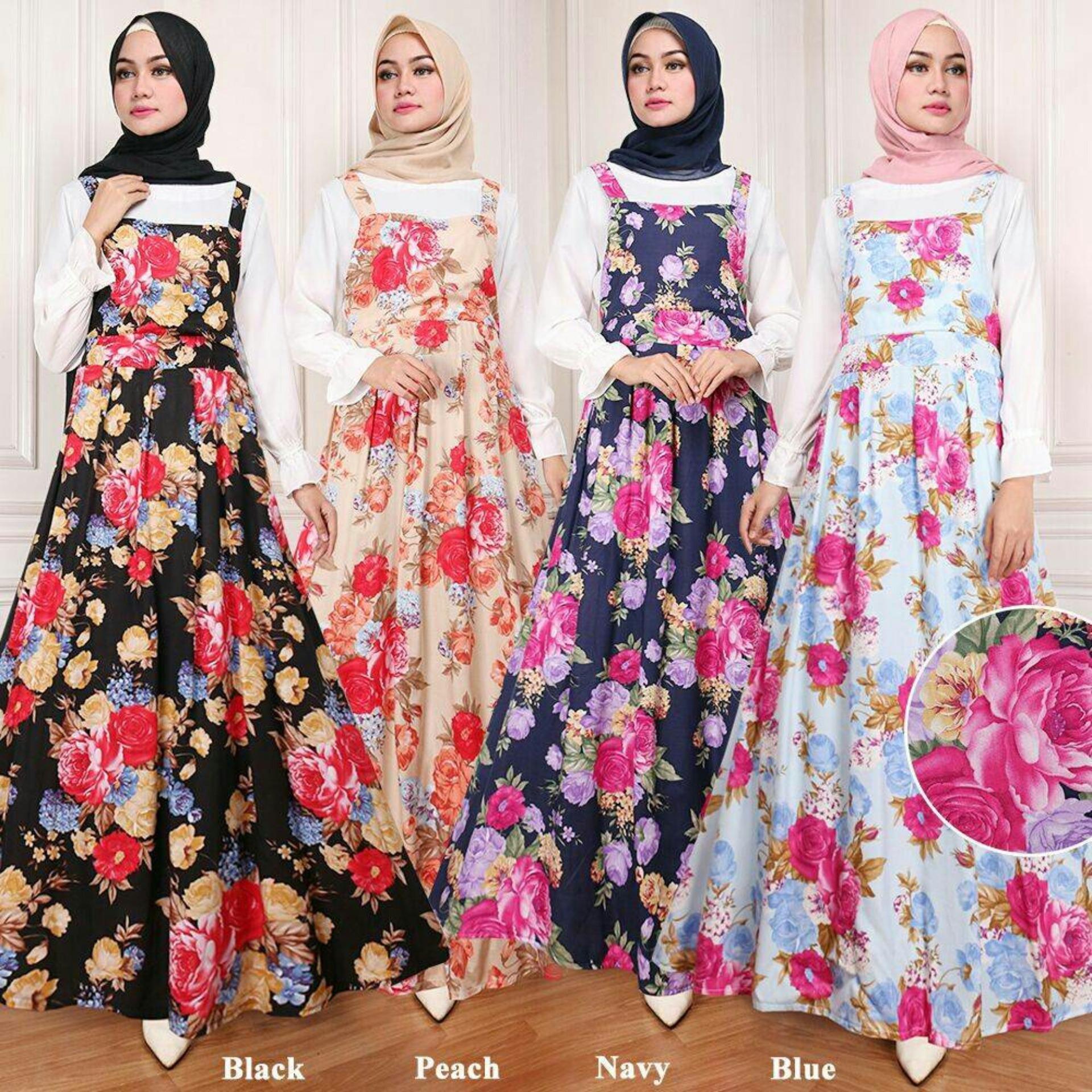 Claryne Maxi Overall Dress Wanita Muslim Lengan Panjang Motif Kembang Kekinian Else