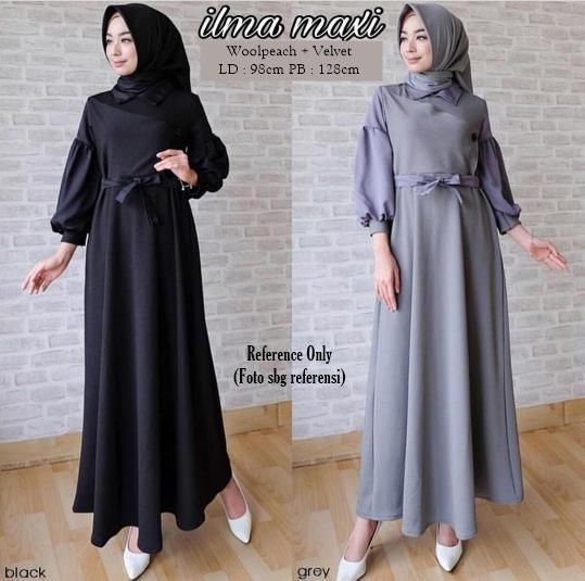 Atasan Wanita Ilma Maxy Black / Dress / Gamis / Baju Muslimah / Maxi