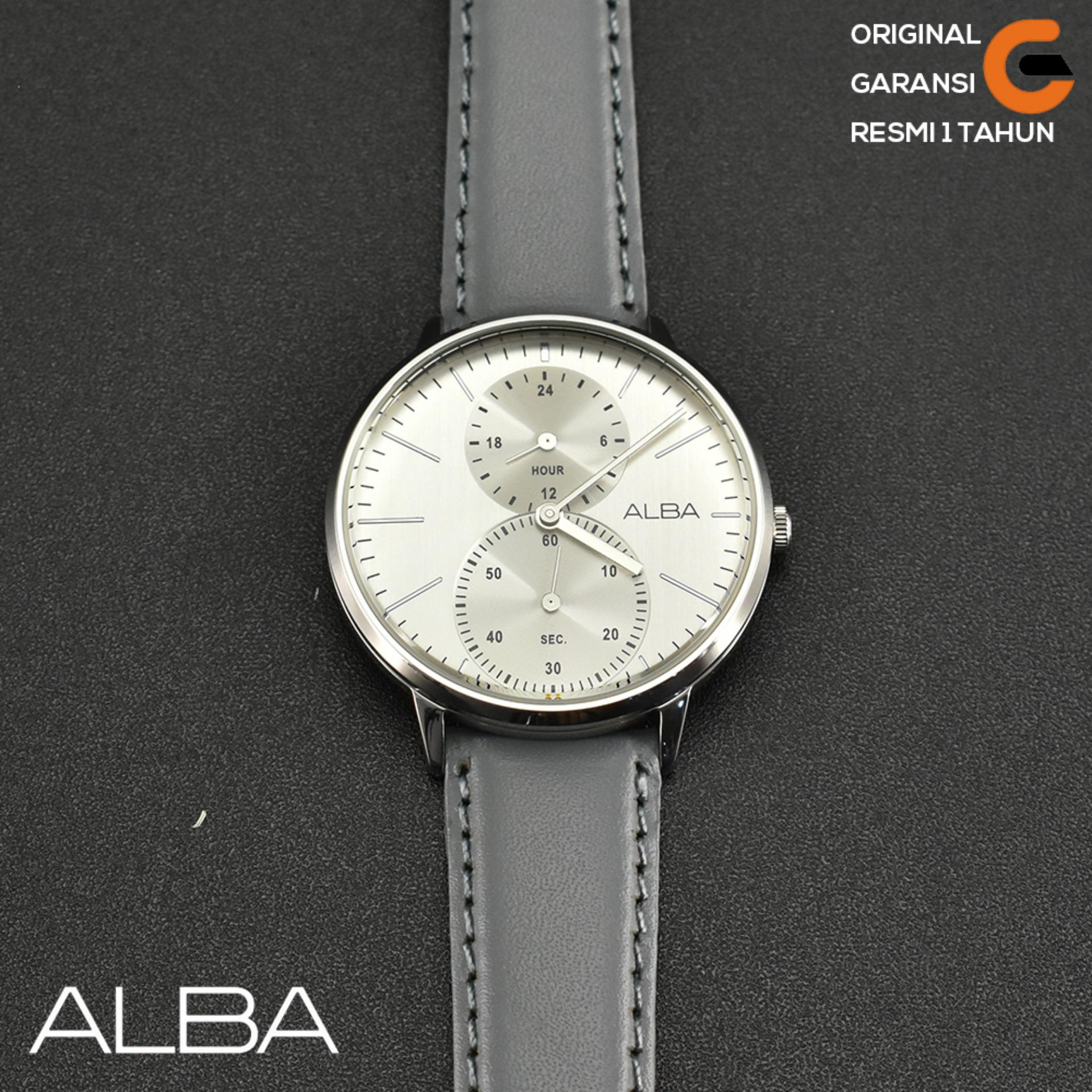 ALBA Jam Tangan Pria ALBA A3A011 Tali kulit Leather Case Stainless Steel Jam  Tangan ALBA Pria fa6c9b85aa