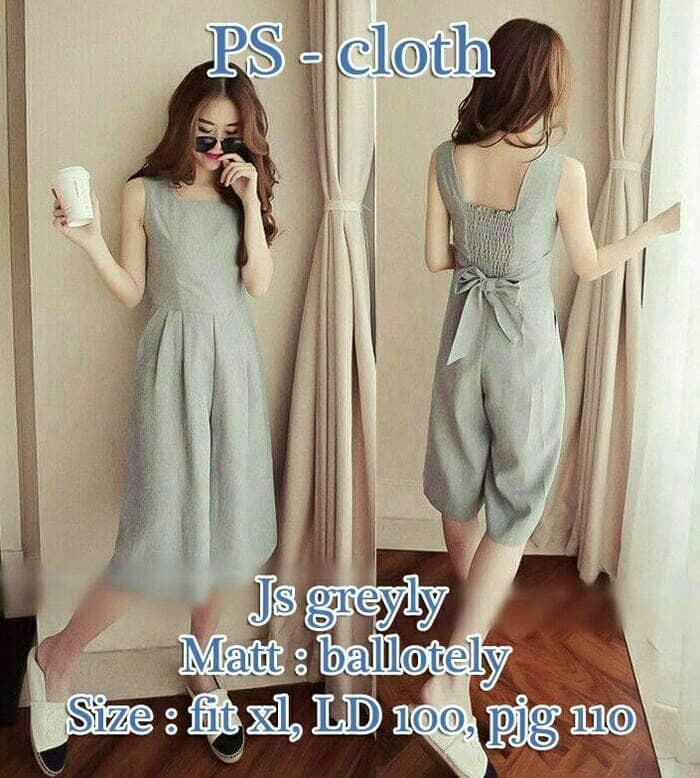 Celana Jumpsuit Lengan Pendek Sweet Grey Ribbon Summer Ootd Kely Style