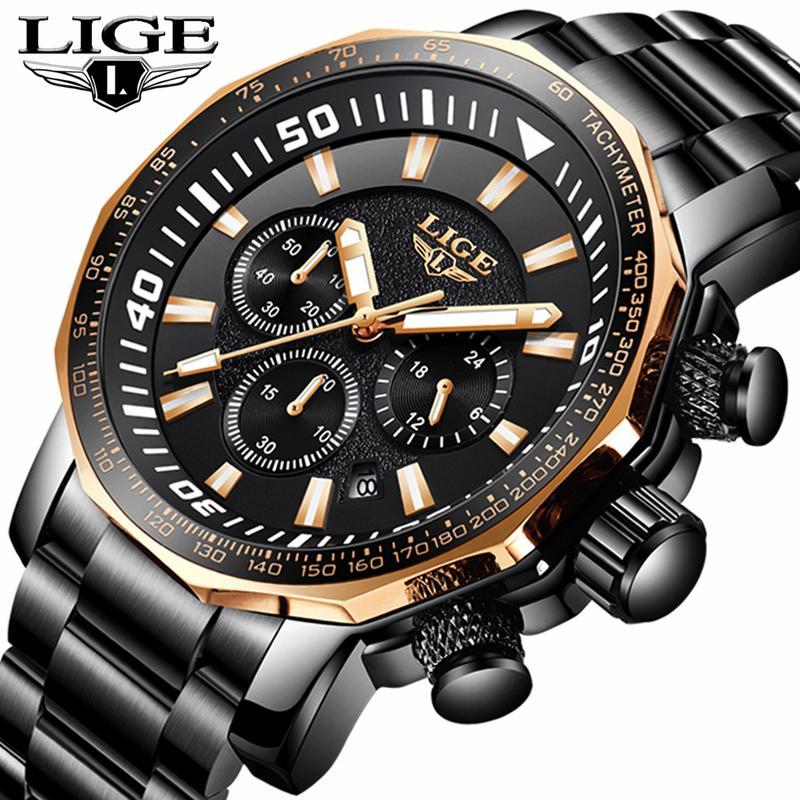 LIGE Perhiasan Pria multi-fungsi Sport Quartz Jam Mens Jam Tangan Atas Merek Mewah Bisnis Baja Penuh Kasual Jam Tangan Tahan Air