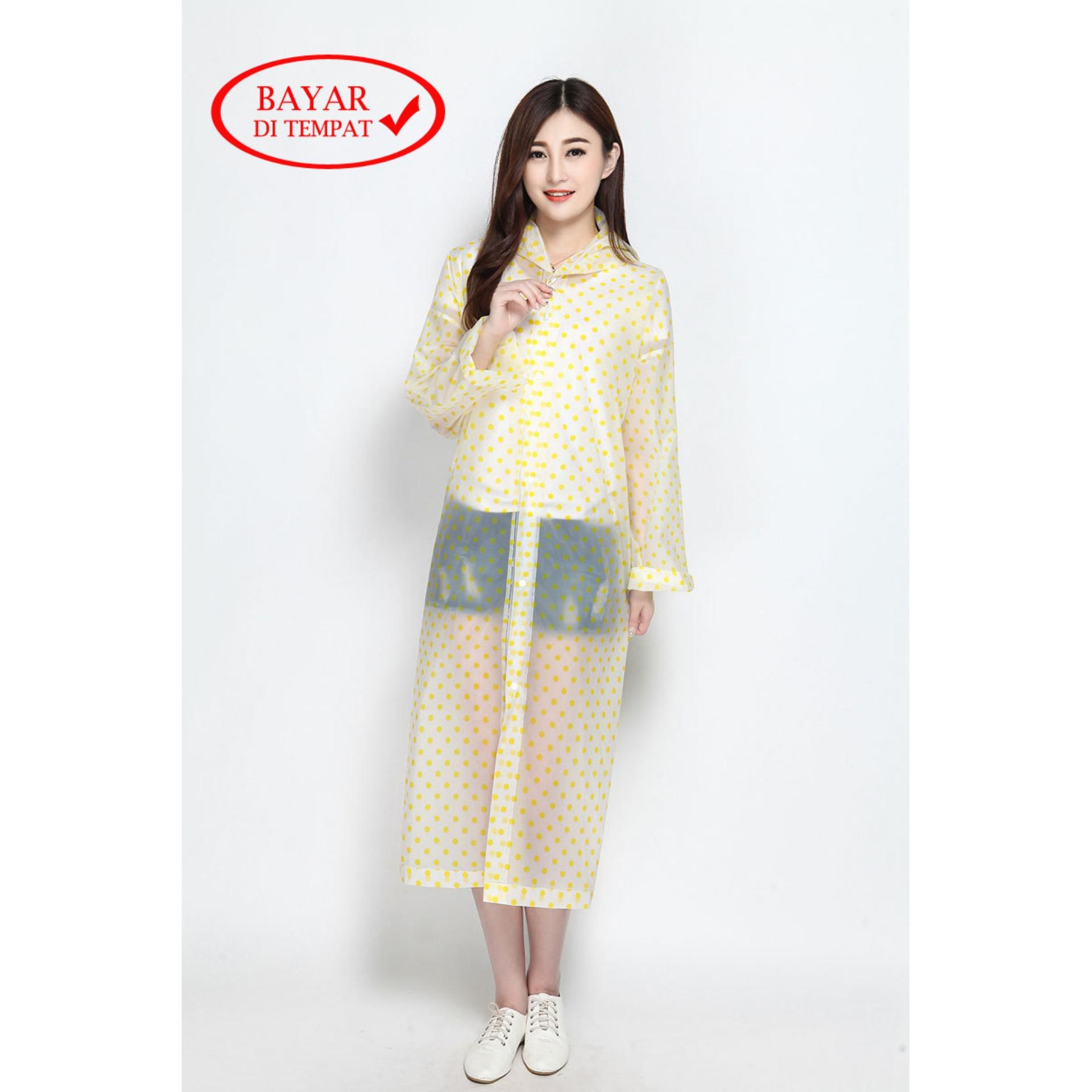 Jas Hujan Korea Plastic Polkadot Terusan Ponco Original Import By Life & Beauty.