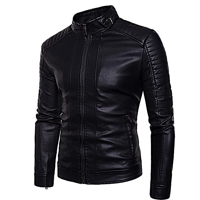 Jaket Pria Slim Fit Kulit Sintetis By Stone Leather.