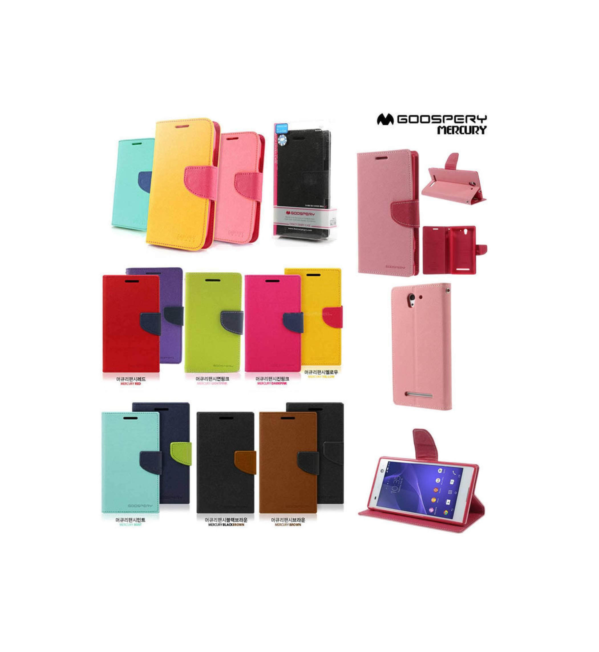 Jual Mercury Fancy Diary Wallet Stand Flip Case Dompet Sony Xperia C3