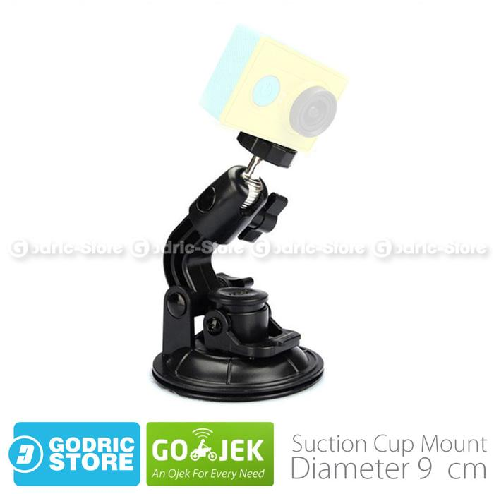 GoPro Suction Cup 9 CM with Tripod Mount & Knob Screw for GOPRO, BRICA B-PRO & Xiaomi Yi Camera - Hitam