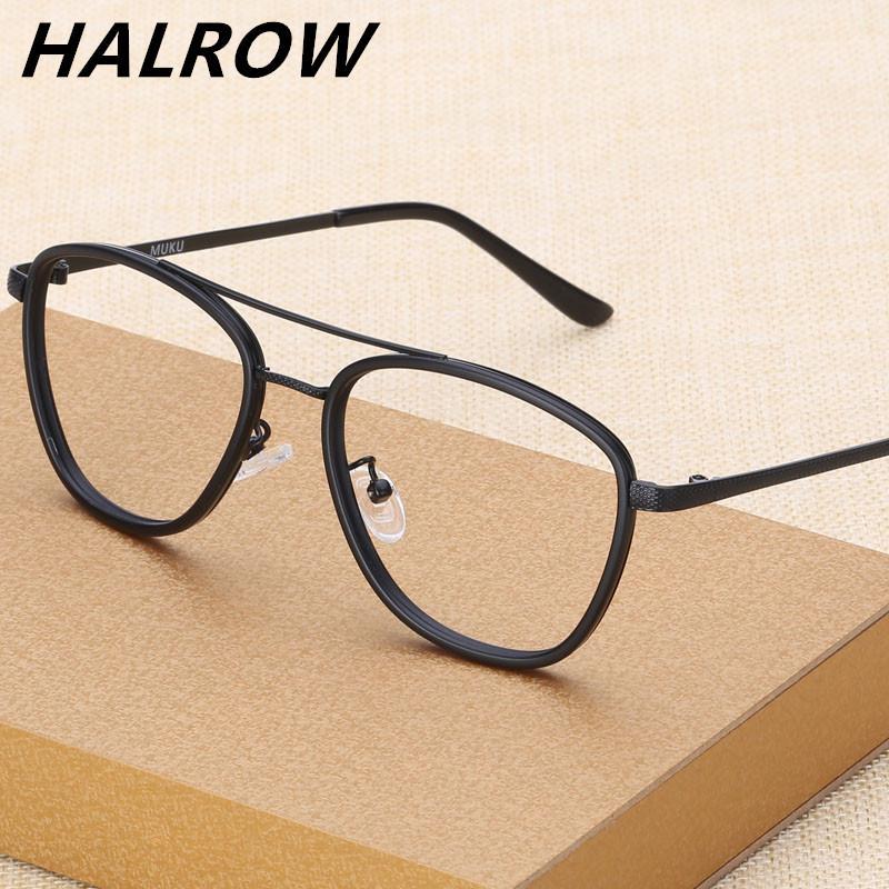 Sangat Ringan Double-Beam Miopia Frame Kacamata Pria Bingkai Lengkap Retro  Pasang Wajah Besar 眼睛 84daf64442