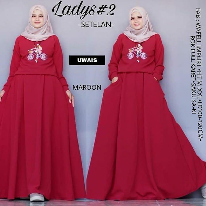 Baju Original Wanita Ladys Set Gamis Spandek Atasan Baju Wanita Muslim Dewasa Lengan Panjang Supplier Pakaian