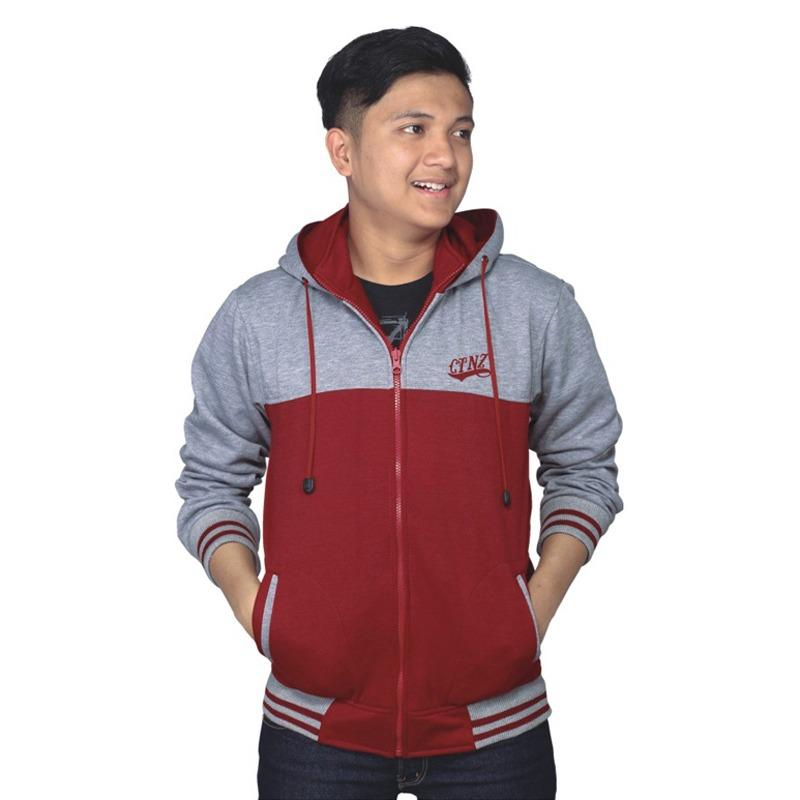 Jaket Sweater Hoodie Casual Fleece Pria Catenzo NU 088 - Abu Merah