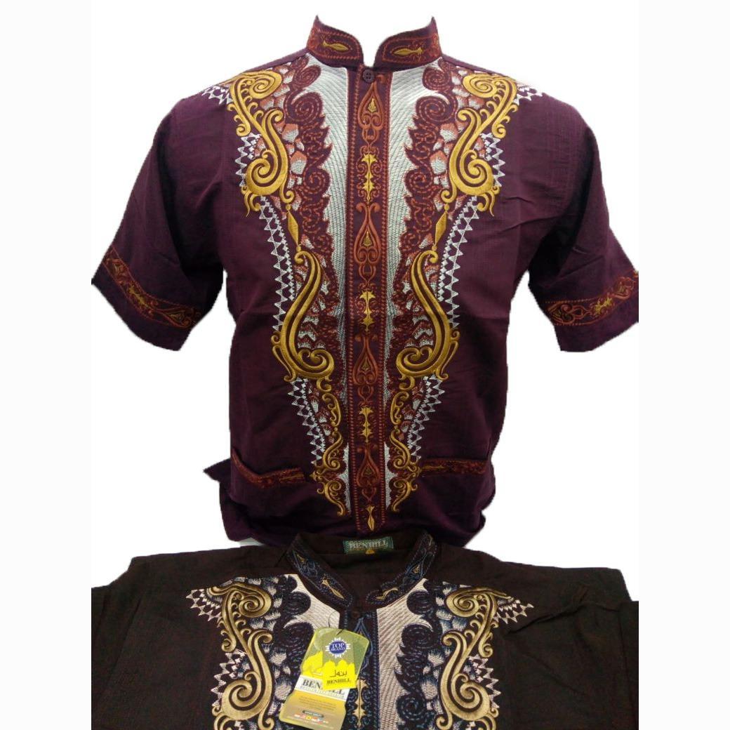 Kemeja Takwa Pria Lengan Pendek / Baju Muslimin / Kemeja Koko / Baju Koko / Baju Lebaran - Merk Benhill - Toko Sumber Rejeki Jeans
