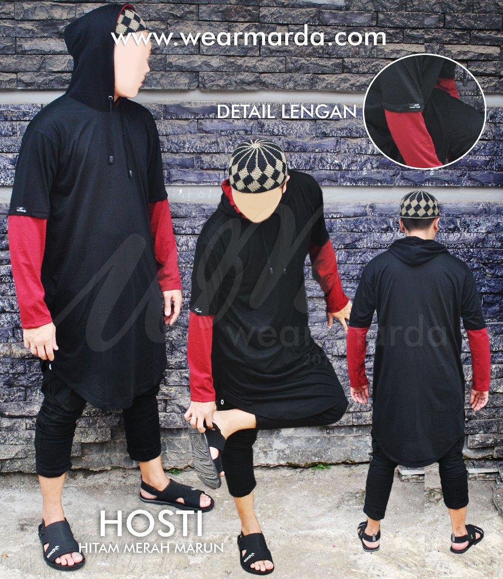 Baju Muslim Islami Longline Kurta Gamis Pakistan Pria Hoodie Cap Hitam Maroon di lapak wear marda wearmarda