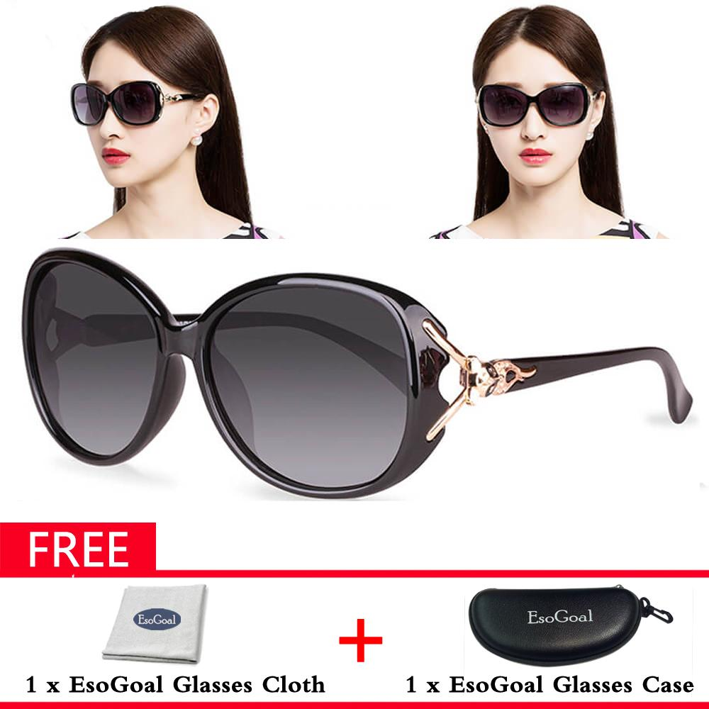 EsoGoal Kacamata Hitam Wanita Lensa Lebar Terpolarisasi 100% Perlindungan UV  Gratis Kotak Penyimpanan d424030eaa
