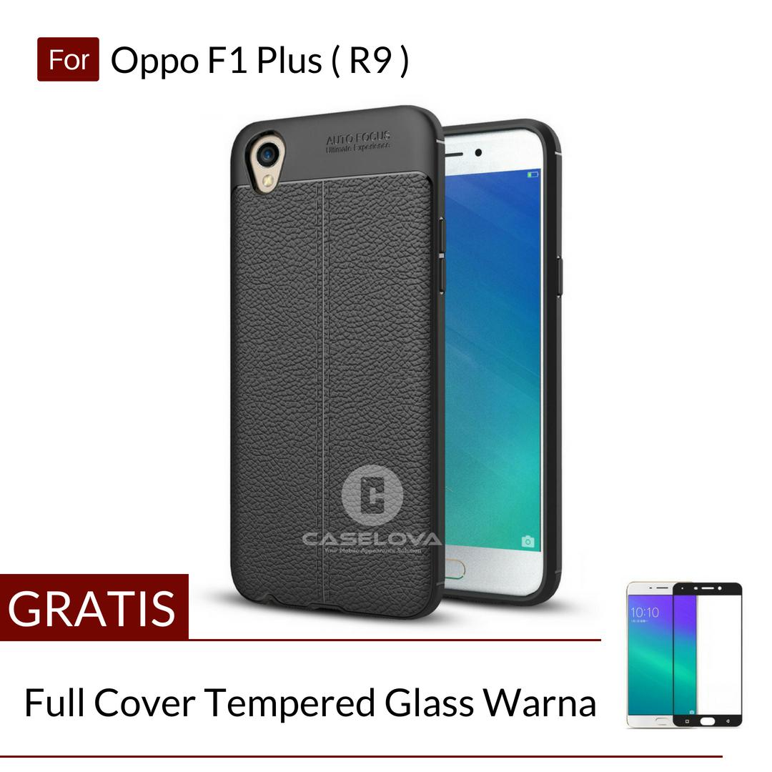 Caselova Ultimate Experience Shockproof Premium Quality Hybrid Case For Oppo F1 Plus ( R9 ) – Hitam + Gratis Full Cover Tempered Glass Warna