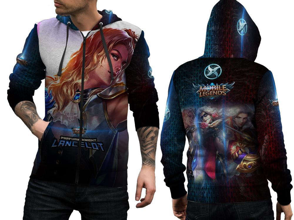 [Utama Media] Jaket Hoodie Sweater Pria Tema Mobile Legends Lancelot Parfume Knight 3D Full Print S