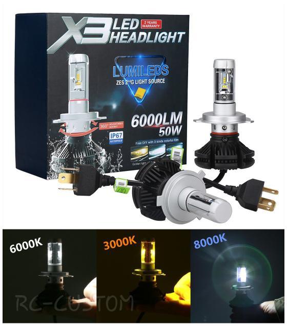lampu led h4 philips lumileds x3 3warna tembus kabut dan hujan  ( lampu  mobil hid plafon depan rem sorot led h4 kabut fog lamp tembak variasi strobo rem toyota innova hid avanza osram )