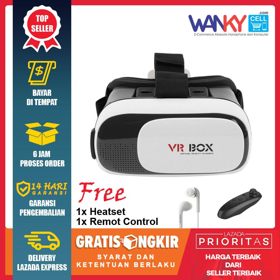 VR Box Virtual Reality 3D Glasses Kacamata 3D Gratis Remote VR Stick Controller Plus Handsfree Samsung