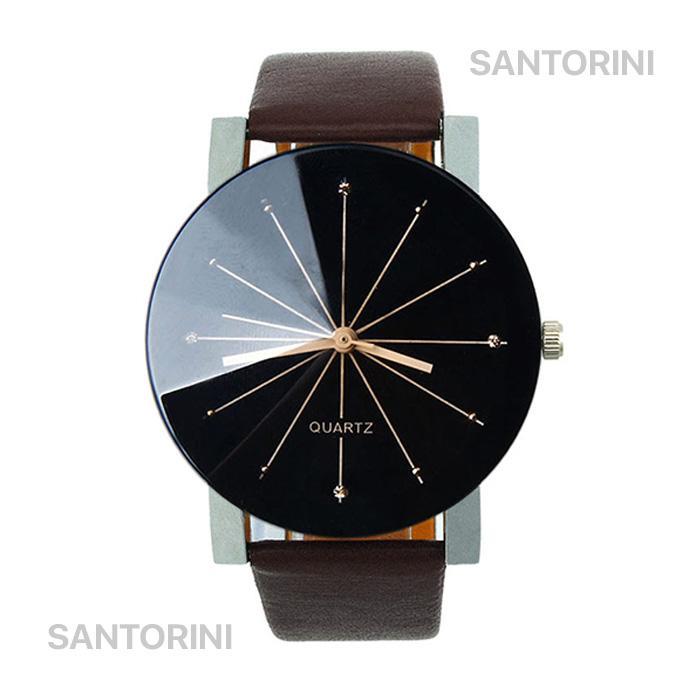 Santorini Jam Tangan Pria Wanita Fashion Kulit Sintesis Quartz Men Lady  Watch 3d3554dae4