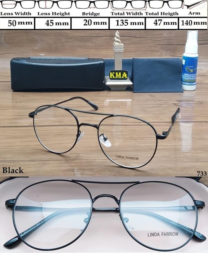 frame kacamata minus LINDA FARROW FACTURISITIC frame minus bulat meta