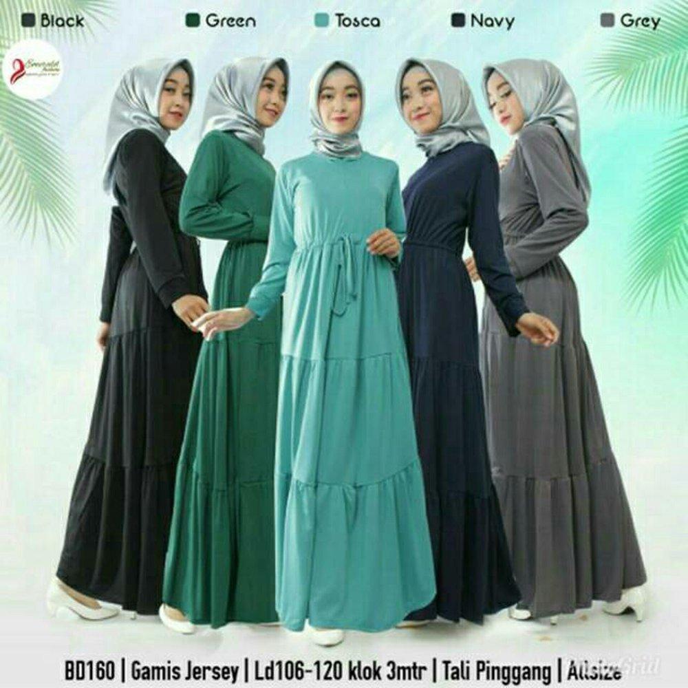 Jual Dress Gamis Muslimah Pilih Warna Babyterry Tebal Adem  Terlaris Kekinian Jersey Balon Susun Canda Seruti Busui Syari Murah Terbaru