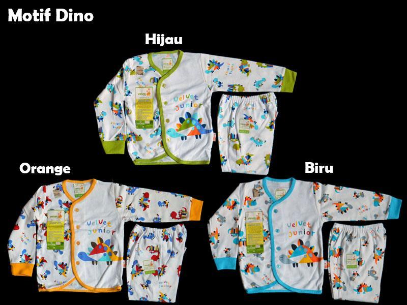 Baju Bayi Setelan Velvet Blok Panjang Size S dan L
