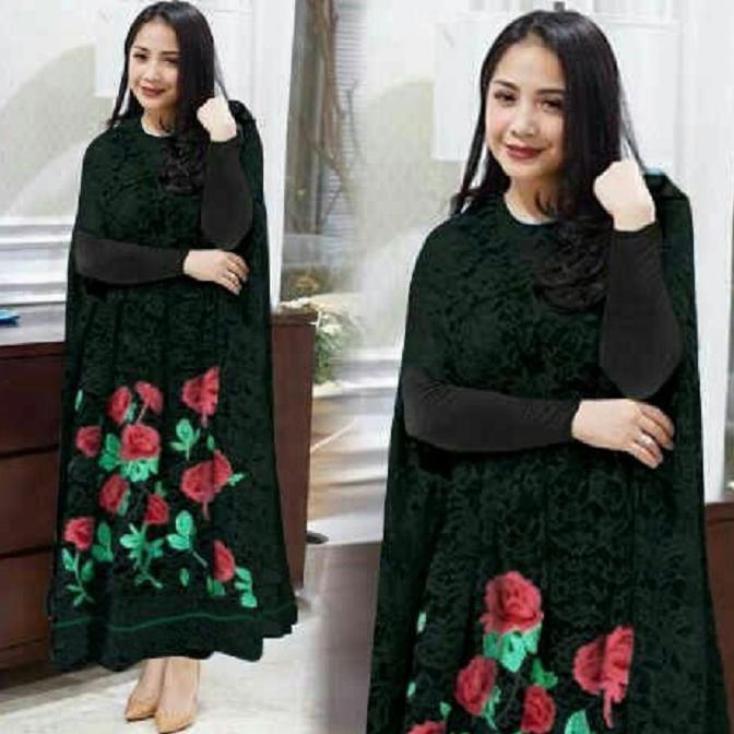 dandelia / MAXY NAGITA FLOWER (cc) / dress nagita / nagita longdress / kaftan muslim / muslim wanita / atasan muslim / dress muslim / fashion muslim / gamis / syari / maxi muslim