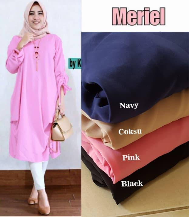 Baju Atasan Wanita Meriel Tunik Blouse Baju Muslim Blus Muslim